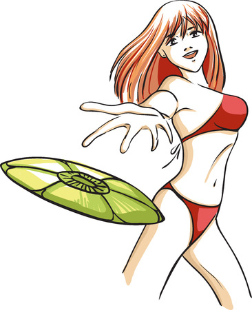 pale color: The vector image with the young girl who plays flying plate on a beach. The woman has long red hair and a red bathing suit. Pale color palette.  Illustration