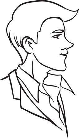 プロファイルでスタイリッシュな若い男のベクター形式の画像。モノクロ黒のイメージ。テーマ ファッション  イラスト・ベクター素材
