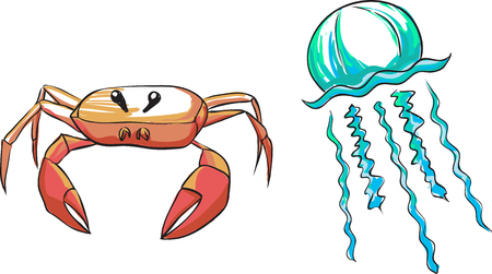 pale color: The picture with a red sea crab and a blue oceanic jellyfish. Pale color palette, vector.