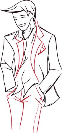 lad: La imagen del vector con el hombre simb�lico con estilo joven en un suit.Theme luz - la boda, el hombre de moda Vectores