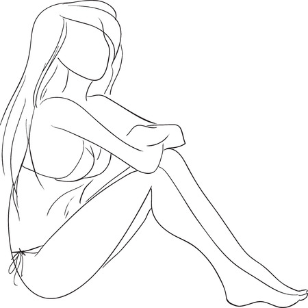 The vector sketch with the young graceful girl sitting on a beach.  Illustration
