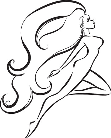 graceful: Vector image of graceful woman with long hair