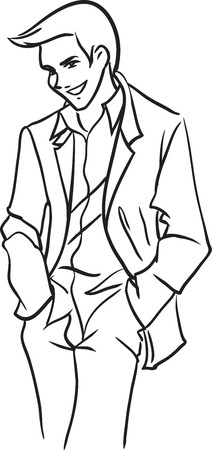 The vector image with the handsome stately stylish young man in a light suit. Black-and-white image. Theme - wedding, fashion man  Vector