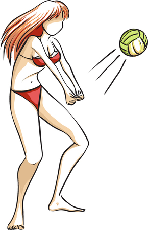 pale color: The vector picture with the young girl who plays volleyball on a beach. The woman has long red hair and a red bathing suit. Pale color palette.