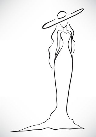 big hat: Vector picture with a silhouette of the graceful slender young woman dressed in a long dress and a big hat
