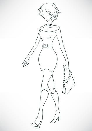 The vector monochrome sketch with the fashionable young woman with a short hairstyle and in a short dress Stock Vector - 22765720
