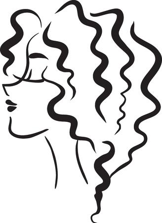 pelo ondulado: La imagen blanco y negro del vector con el perfil de la mujer con el pelo ondulado Vectores
