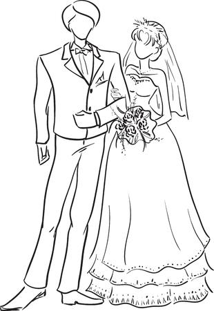 Vector monocromo foto de una joven pareja de boda en toda su longitud