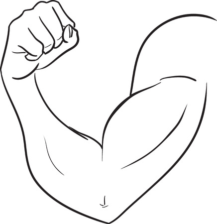 The vector black and white image with a biceps of the strong man. Subjects are bodybuilding, force