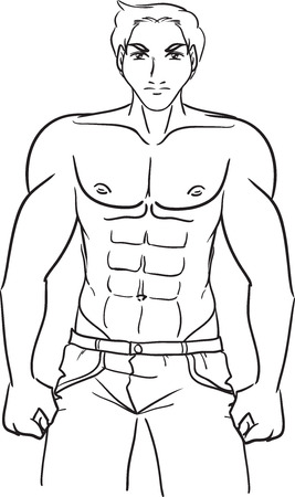 Vector the black-and-white image with the young brawny sports guy in jeans with a naked breast. Subjects are bodybuilders, athletes, weightlifting, bodybuilding  Vector