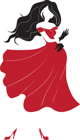 The slender young woman dances a flamenco in a long red dress. Vector image, red and black color  Vector