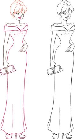 클러치: 호화스러운 우아한 세트 젊은 여자는 긴 이브닝 드레스에 클러치와 드레싱