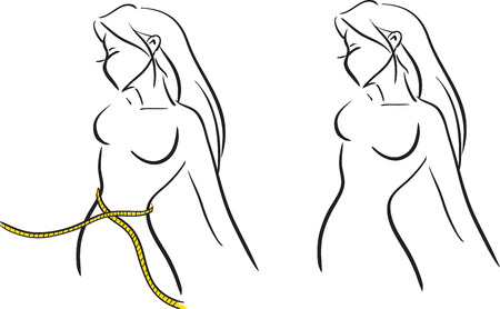 The symbolical image with the girl measuring a waist by  tape. Vector monochrome image. Themes are fitness, slenderness, diet