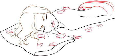 The beautiful young girl receives massage in Spa salon. Petals of roses surround her graceful body. Vector image.