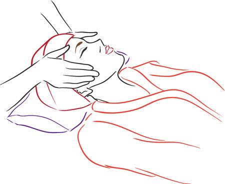 Ontspannende mooie vrouw met een massage voor haar huid op een gezicht in de schoonheidssalon. Vector illustratie Stock Illustratie