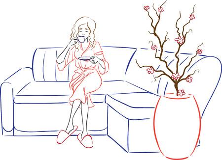 Tedavi sonrası güzellik salonunda bornoz çay içme temiz kadının portresi. Vektör resim.