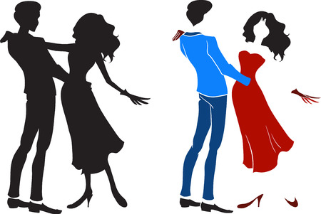 Dancing couple  The handsome man and the elegant woman in a long dress dance a tango  Vector image Vector