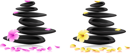 Stones pyramid with a plumeria flower and petals, isolated on white background  Pink and yellow blossoming flower  Vector picture Vector