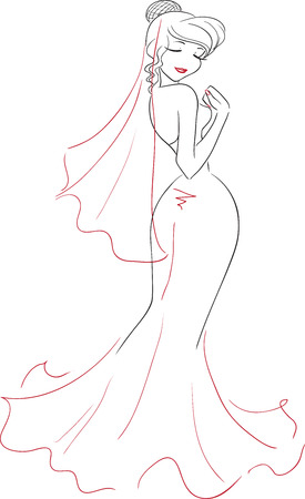 wedding dress back: The charming elegant smiling woman with closed eyes in a long smart dress. Back view. Vector picture. Themes are wedding, bride.  Illustration