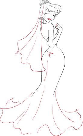 L'affascinante elegante donna sorridente con gli occhi chiusi in un lungo abito elegante. Vista posteriore. Immagine vettoriale. I temi sono matrimonio, sposa.
