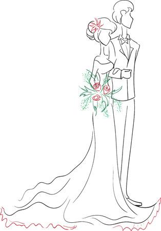 bride silhouette: Symbolic wedding couple bride and groom. Scribble, sketch, vector  Illustration