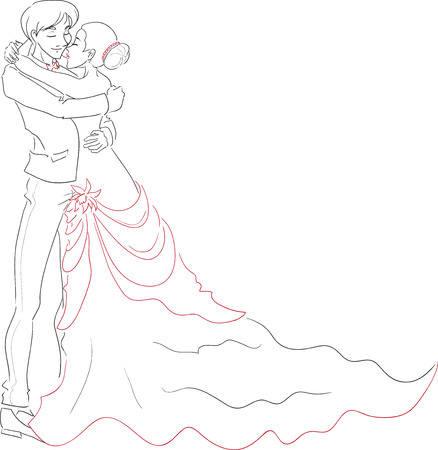 Happy young beautiful couple man and woman embrace. Full length. Subjects are wedding, bride, groom, wedding invitation. Vector image