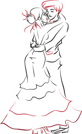 elegant couple: The beautiful young elegant woman and fashionable young man embrace. Themes are wedding, groom and bride, dance, love. Vector picture.  Illustration
