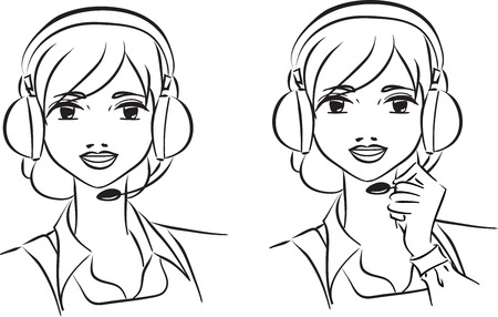 Vector illustration of smiling phone operator with headset. Themes are support, calling, operator,   Vector