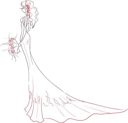 ベクトル イラスト。長いドレスの花の花束を持つプロファイルで若い優雅な花嫁