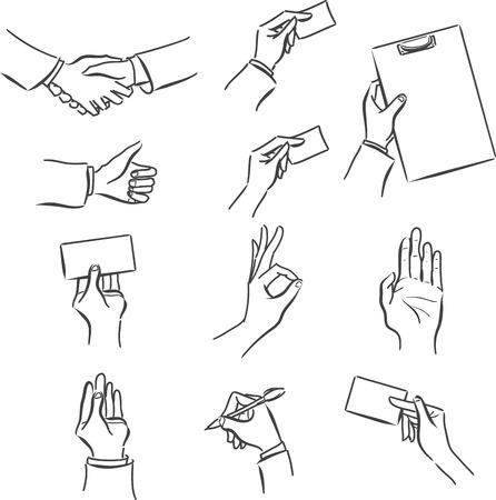 Vektör monokrom bir erkeğin eli ile sembollerin iş ayarlayın: sözleşme imzalamak, el sıkışma, kartvizit, başarı, tablet, işbirliği