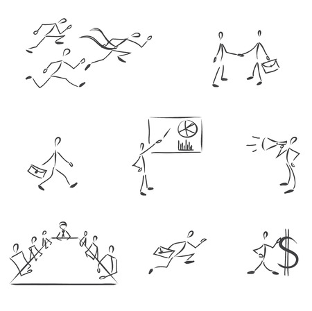 Vector monochrome character set with people. Business theme: chart, conversation, meeting, profit, cooperation, leadership, loud-hailer  Vector