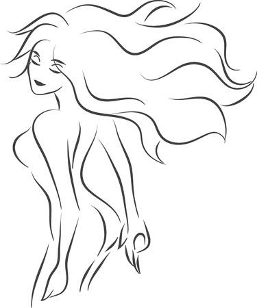 細長いエレガントな美しい笑顔裸の女性を持つベクトル白黒画像