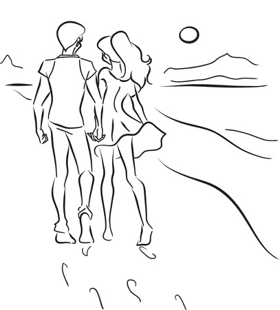 Young couple man and woman walk on an ocean coast