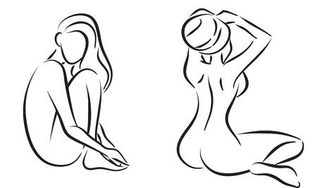 Spa salonda zarif kızların sembolik siluetleri. Vektör izole görüntü