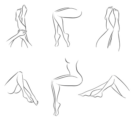 naked woman sitting: Set from six variants of elegant female legs. Vector monochrome image