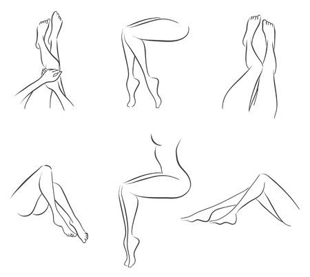 Zarif kadın bacaklarının altı türevleri ayarlanır. Vektör tek renkli görüntü