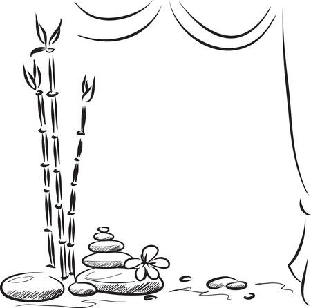 Monochrome vector achtergrond met stenen, bloemen en bamboe