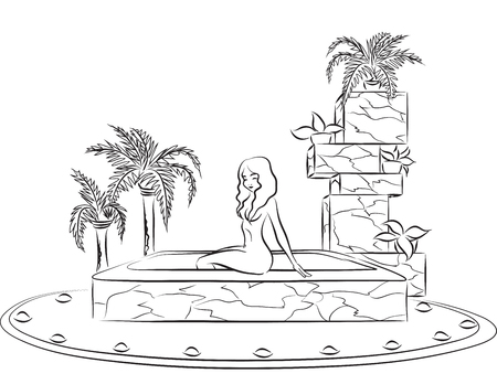 Slender beautiful woman sitting at border of pool in luxurious spa salon. Vector image  Vector