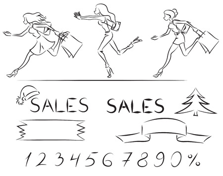 new year's cap: Set on scope of Sale: running women with shopping bags, arabic numerals, sign, fir, New Years cap