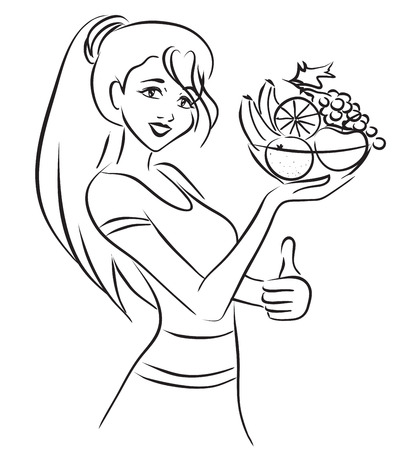 woman background: The slender beautiful woman looking at camera holds in a hand plate with fresh fruits. Themes are diet, healthy lifestyle, weight loss, healthy food. Vector monochrome image  Illustration
