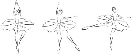 The vector image with three ballerinas. stylized monochrome picture.  Vector