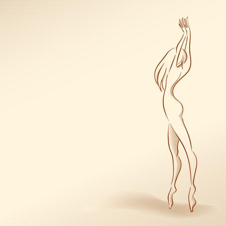 Young slim elegant girl dances standing tiptoes.