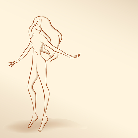 Symbolic  elegant woman dancing.