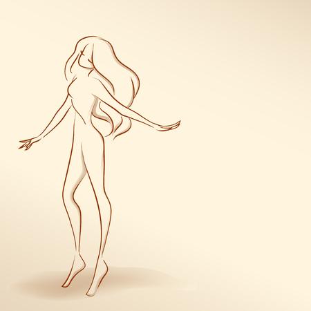 Symbolic  elegant woman dancing.  Vector