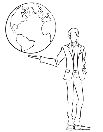 Vector image of symbolic businessman holding the globe on own hand, Business concept. Global communication, world management  Vector