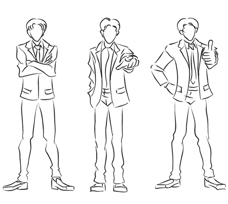 Three businessmen full length, gesture - confidence, all right, success. Monochrome vector image  Illustration