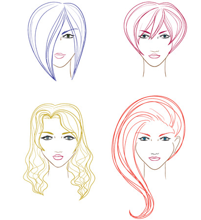 Set of women faces for hairdressing saloon. Vector cartoon