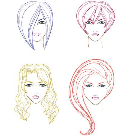 Set di volti di donne per il salone di parrucchiere. Vector cartoon