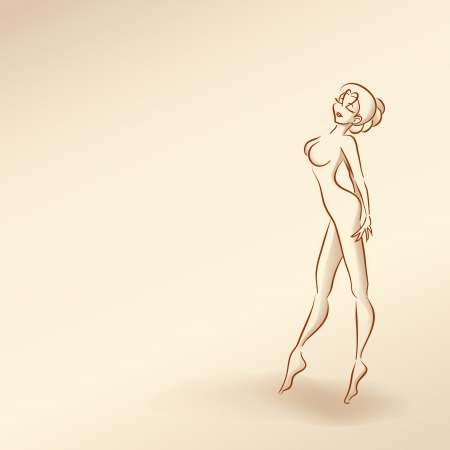 Stylized silhouette of elegant slender girl dancing. Pastel nude color, vector cartoon  Vector