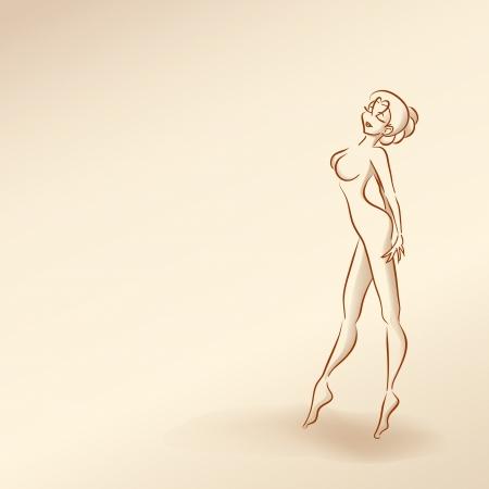 naked girl: Stylized silhouette of elegant slender girl dancing. Pastel nude color, vector cartoon